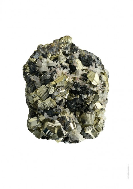 Pyrit i bergskristall A4 utan webb